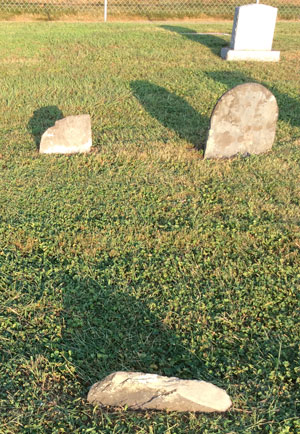 Early Graves Marked by Simple Fieldstones with no Inscriptions at Rocky Springs Cemetery