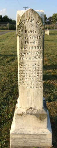Headstone of Frederick Kintz 1819-1901 at Rocky Springs Cemetery