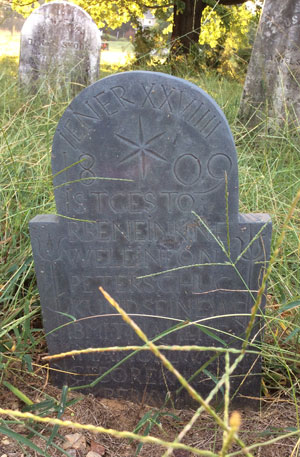 Headstone of Peter Schuc 27 Nov 1808-29 Jan 1809, Shook Family Cemetery (written in German)