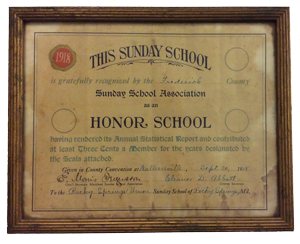 1918 Sunday School Certificate